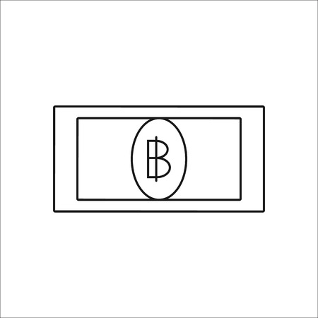 Thai Baht Coin Symbol Sign Line Icon On Background Royalty Free