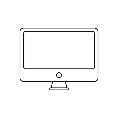 pc monitor: Monitor or PC screen symbol sign line icon on background