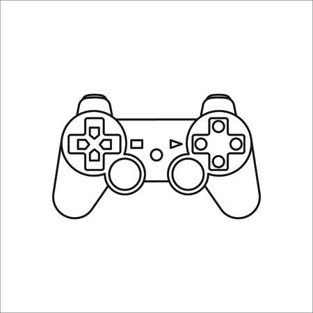 ゲーム コント ローラーまたはゲームパッド シンボル記号線アイコンの背景に