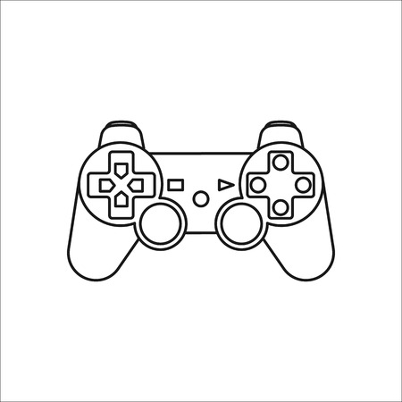 Game Controller or gamepad symbol sign line icon on background