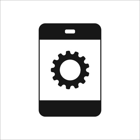 preferences: Gear icon. Options, preferences, generation and work concept symbol on phone sign silhouette icon on background