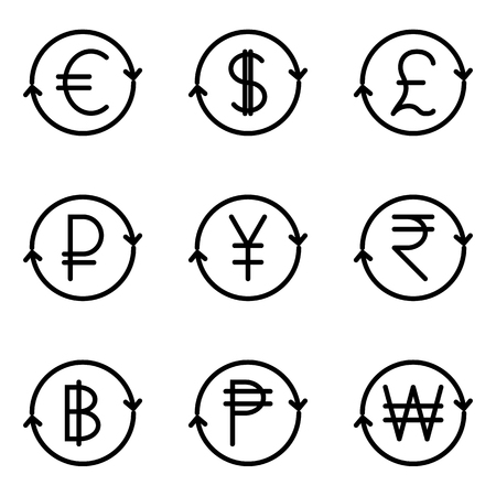 transnational: World currencies exchange line sign icon on background Illustration