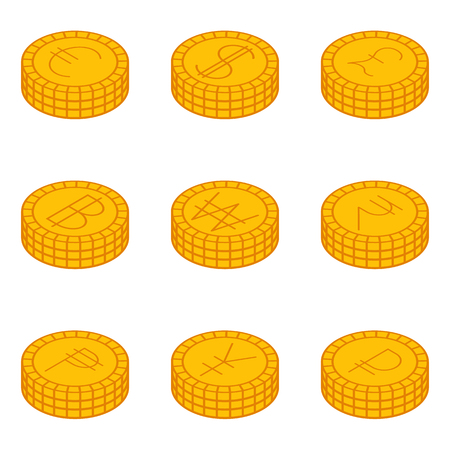 World currencies or Stacks of coins flat sign icon set on background