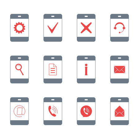 Contacts Different Symbols On Phone Screen Flat Sign Icon Set