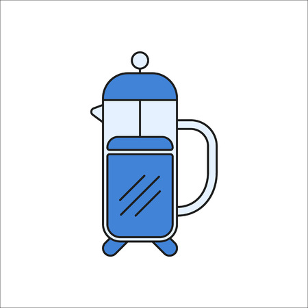 French press symbol sign flat, colorful icon on background