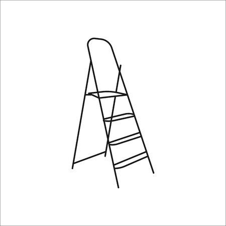 Stepladder symbol sign line icon on background