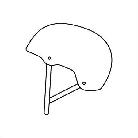 Skateboard helmet symbol sign line icon on background Vetores