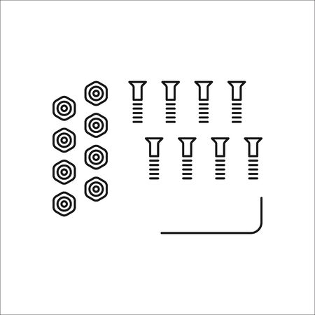 Skateboard hardware complect symbol sign line icon on background
