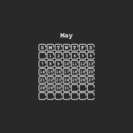 Vector May 2017 month calendar, black color. Week Starts on Sunday