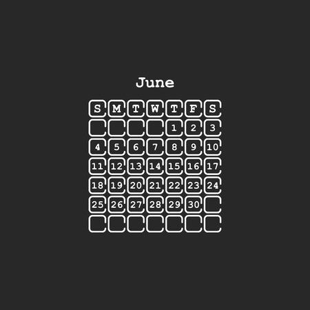 Vector June 2017 month calendar, black color. Week Starts on Sunday