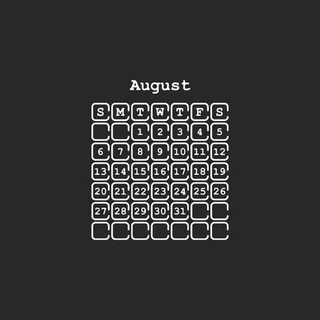 Vector August 2017 month calendar, black color. Week Starts on Sunday Ilustração