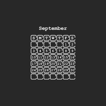Vector September 2017 month calendar, black color. Week Starts on Sunday Ilustração