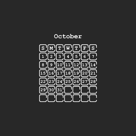 Vector October 2017 month calendar, black color. Week Starts on Sunday