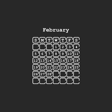 Vector February 2017 month calendar, black color. Week Starts on Sunday Banco de Imagens - 69638196