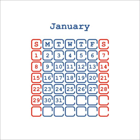 jan: Vector January 2017 flat month calendar. Week Starts on Sunday
