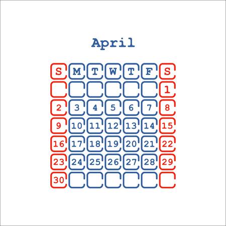 Vector April 2017 month calendar flat . Week Starts on Sunday