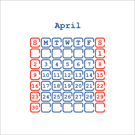 Vector April 2017 month calendar flat . Week Starts on Sunday Banco de Imagens - 69451193