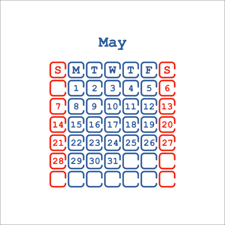 Vector May2017 month calendar flat . Week Starts on Sunday