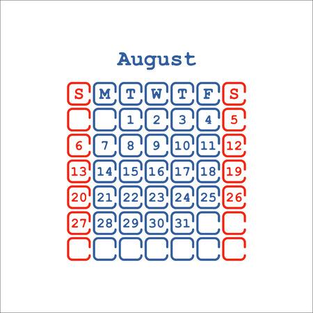 Vector August 2017 month calendar flat. Week Starts on Sunday
