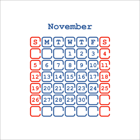 Vector November 2017 month calendar flat. Week Starts on Sunday Banco de Imagens - 70336447
