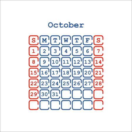 Vector October 2017 month calendar flat . Week Starts on Sunday