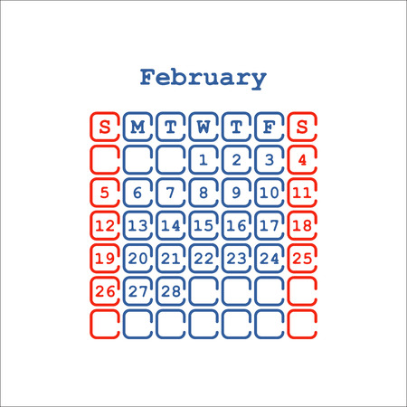 Vector February 2017 month calendar flat . Week Starts on Sunday