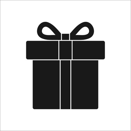 giftware: Christmas or present box symbol sign silhouette icon on background
