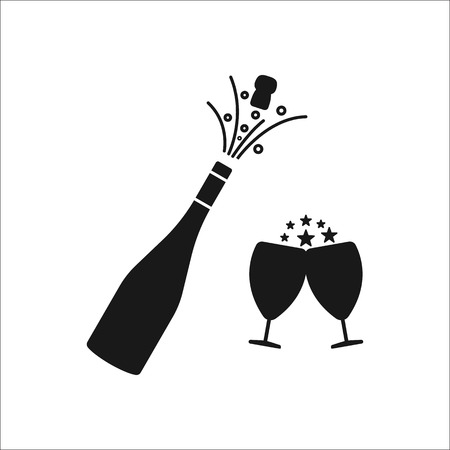 Champagne bottle explosion with cheering glasses symbol sign silhouette icon on background