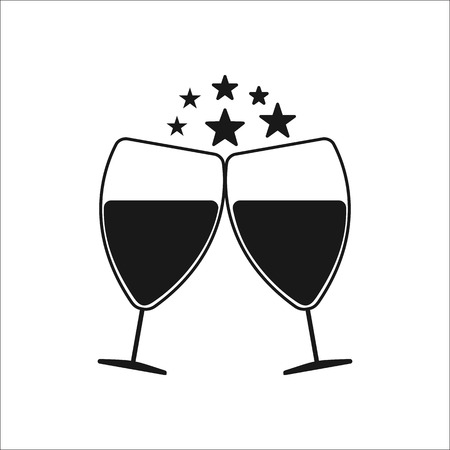 Two Cheering glasses of wine symbol sign silhouette icon on background