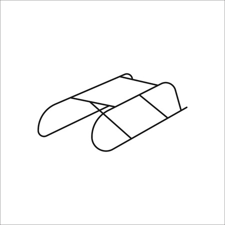 Sled symbol sign line icon on background Illustration