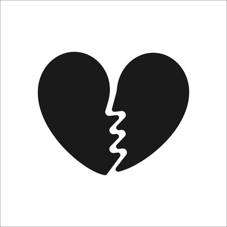 Broken Heart Symbol Silhouette Icon On Background Royalty Free