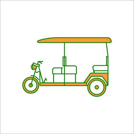 rikscha: Auto rickshaw symbol sign flat icon on background