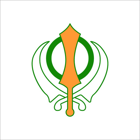 deg: Sikhism religion Khanda symbol sign flat icon on background