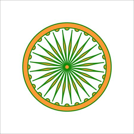 nirvana: Ashoka Chakra symbol sign flat icon on background
