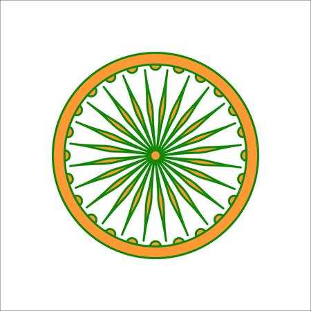 Ashoka Chakra symbol sign flat icon on background