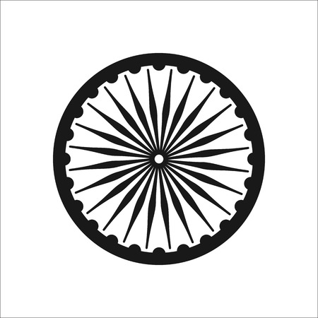 Ashoka Chakra symbol sign silhouette icon on background