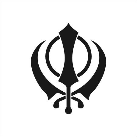 deg: Sikhism religion Khanda symbol sign silhouette icon on background