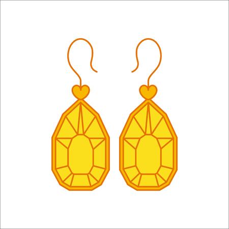 Brlliant diamond earrings simple flat icon