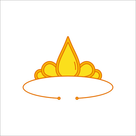 Golden diadem simple flat icon on background