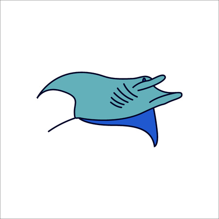 Swimming Stingray symbol simple flat icon on background