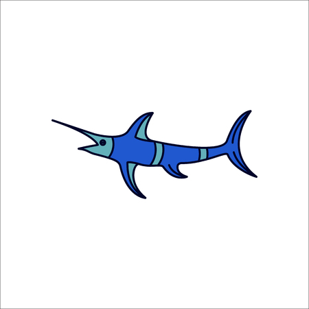 marline: Swordfish symbol simple flat icon on background Stock Photo