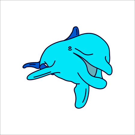 Dolphin swimming symbol simple flat icon on background