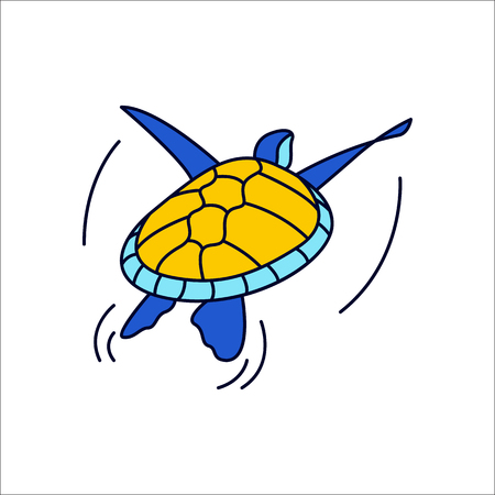 Swimming turtle symbol simple flat icon on background Ilustrace