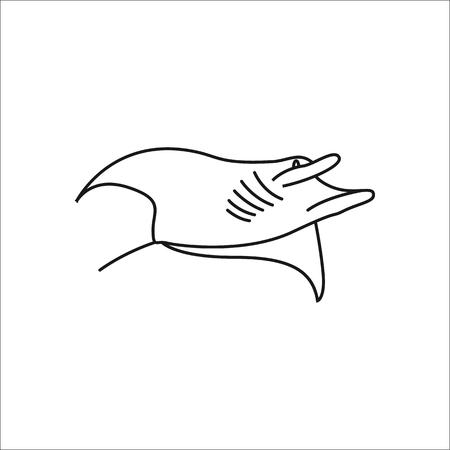 stingray: Swimming Stingray symbol simple line icon on background