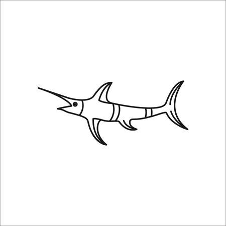 marline: Swordfish symbol simple line icon on background Illustration