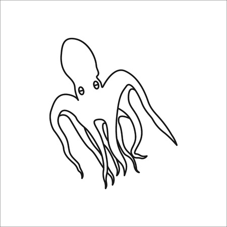 Octopus symbol simple line icon on background