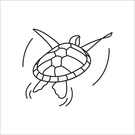 Swimming turtle symbol simple line icon on background Illustration