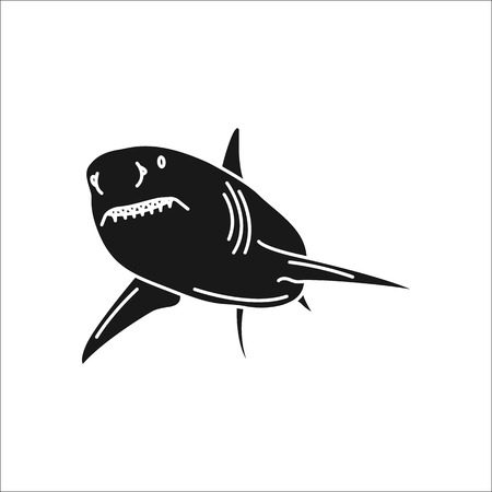 great danger: Swimming shark symbol simple silhouette icon on background