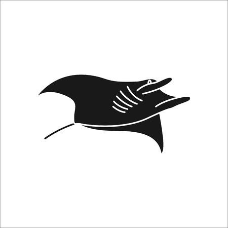 Einfache Schattenbildikone des Schwimmen-Stingray-Symbols auf Hintergrund