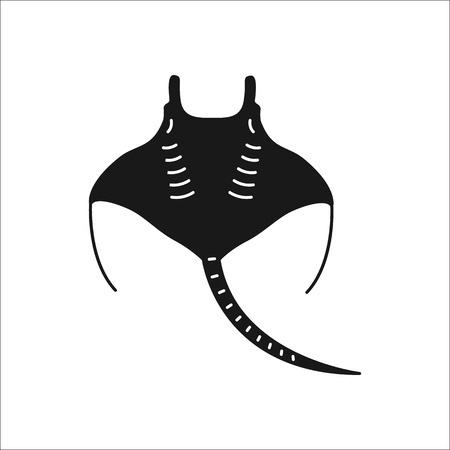 Swimming Stingray symbol simple silhouette icon on background Illustration